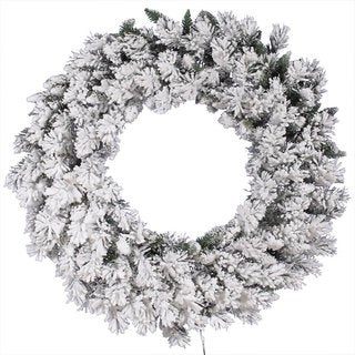 42-inch Flocked Snow Ridge Wreath with 160 Tips