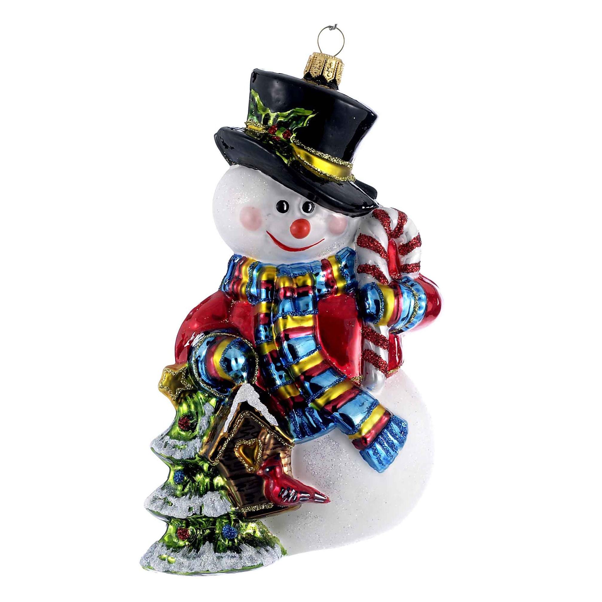 Kurt S. Adler 6.5-Inch Polonaise Glass Snowman and Christ...