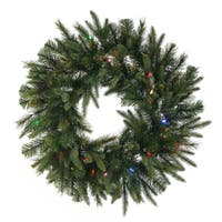 """30"""" Pre-Lit Battery Operated Mixed Pine Cashmere Christmas Wreath - Multi Lights"""