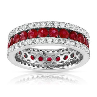 14K White Gold .95ct TDW Ruby and Diamond Eternity Anniversary Ring (G-H, SI1-SI2)