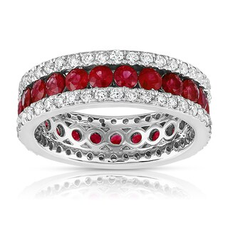 14K White Gold .95ct TDW Ruby and Diamond Eternity Anniversary Ring
