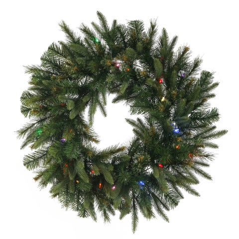 Vickerman Green 36-inch Cashmere Wreath with 100 Multicolored LED Lights