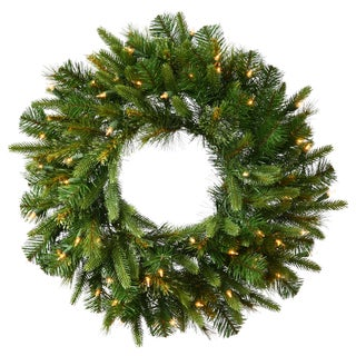 """24"""" Pre-Lit Mixed Cashmere Pine Artificial Christmas Wreath - Warm Clear LED Lights"""