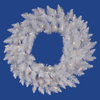 """60"""" Pre-Lit Sparkle White Spruce Artificial Christmas Wreath - Clear Lights"""