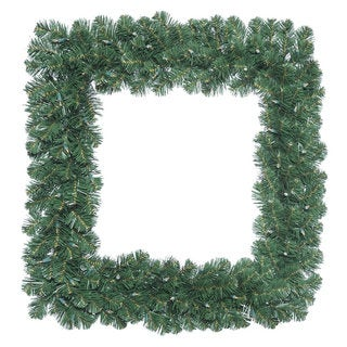 Vickerman 30-inch Oregon Fir Square Wreath with 70 Clear Dura-lit Lights