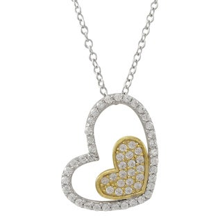 Luxiro Two-tone Gold Finish Sterling Silver Heart Pendant Necklace