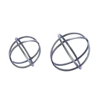 Benzara Grey Metal and Acrylic Orbs (Set of 2)