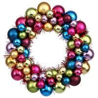Multicolored 12-inch Ball Wreath