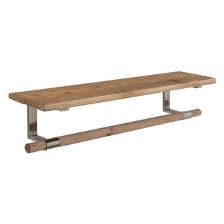 Brown Wood and Stainless Steel Wall Shelf