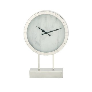 Benzara Silver-colored Stainless-steel Table Clock