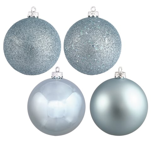 Baby Blue Plastic 2.75-inch 4-finish Assorted Ornaments (Case of 20)
