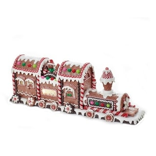 Kurt Adler 19.5-Inch Battery-Operated Gingerbread LED Train Tablepiece