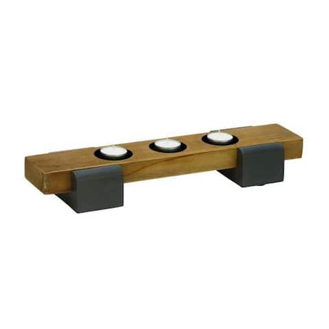 Carbon Loft Leon Benzara Brown Wood/ Metal Candle Holder