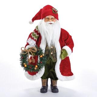 Kurt Adler 18-Inch Fabric Mache Red Jacket Santa with Wreath