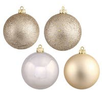 Champagne 4-finish Assortment 3-inch Ball Ornaments (Pack of 32)