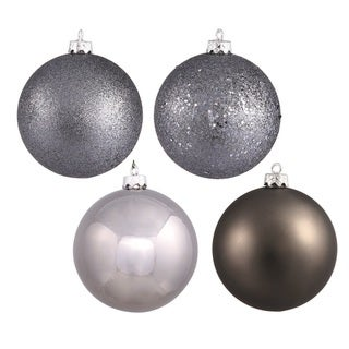 Pewter 3-inch 4-finish Assorted Ornaments (Pack of 32)