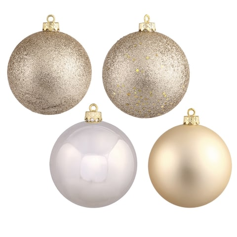 Champagne-colored Plastic 1.6-inch Ornaments with 4 Assorted Finishes (Pack of 96) - Champagne