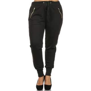 Women's Black Plus-size Cuffed Zipper Pants|https://ak1.ostkcdn.com/images/products/13001628/P19746058.jpg?impolicy=medium