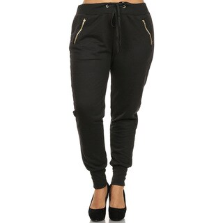 Women's Black Plus-size Cuffed Zipper Pants