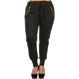 Women's Black Plus-size Cuffed Zipper Pants (3 options available)