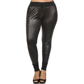 Women's Black Faux-leather Plus-size Pants
