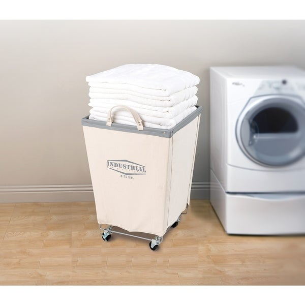 Seville Classics Commercial Canvas Laundry Hamper Cart