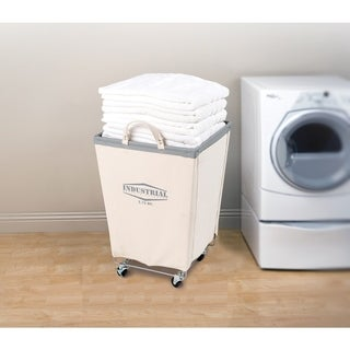 Seville Classics Off-white Canvas/Cotton Commercial Laundry Hamper Cart