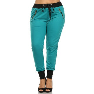 Women's Polyester and Spandex Color-block Cuffed Plus-size Joggers