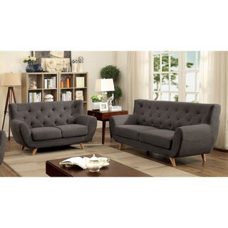 Furniture of America Rina Mid-Century Modern 2-piece Tufted Linen-like Sofa Set