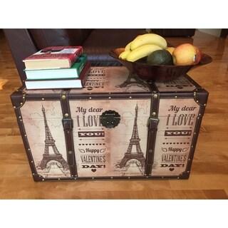 White Cedar Wood Decorative Paris Valentine's Day Medium Steamer Trunk Treasure Hope Chest