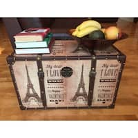 White Cedar Wood Decorative Paris Valentine's Day Medium Steamer Trunk Treasure Hope Chest