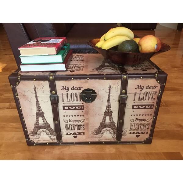 White Cedar Wood Decorative Paris Valentine S Day Medium Steamer Trunk Treasure Hope Chest