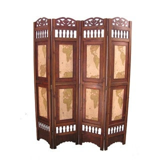 Vintage Old World Wood 6-foot Tall Room Divider Screen