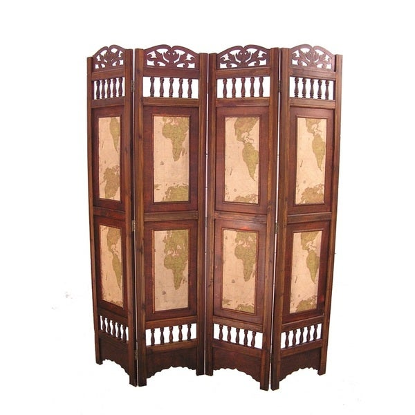 Vintage Old World Wood 6 Foot Tall Room Divider Screen