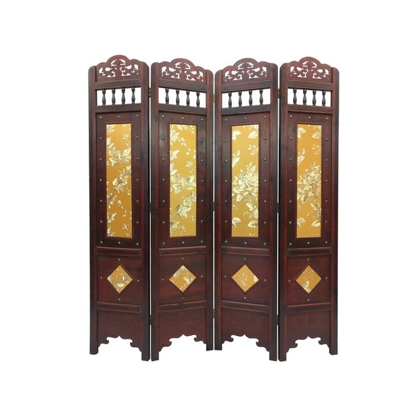Vintage Gold Leaves Wood 6 Foot Tall Room Divider Screen