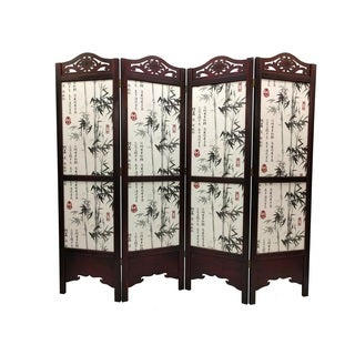Vintage Wood 6-foot Bamboo Tree Room Divider Screen