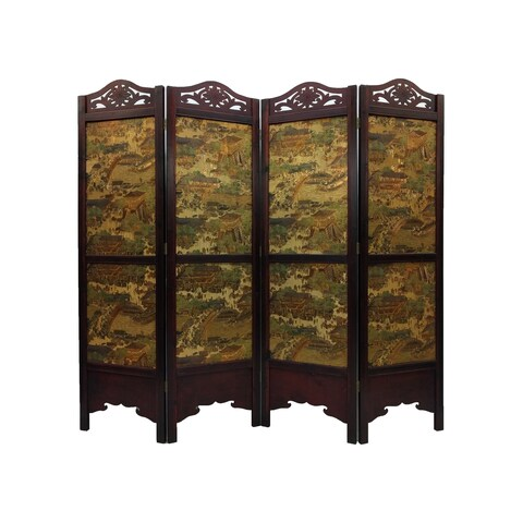 Vintage Ancient City-style Wood 6' Tall Extra-wide Room Divider Screen