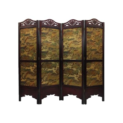 Vintage Ancient City-style Wood Extra-wide Room Divider Screen