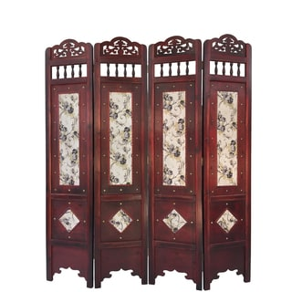 Vintage Waterpaint Flower Wood 6-foot Room Divider Screen