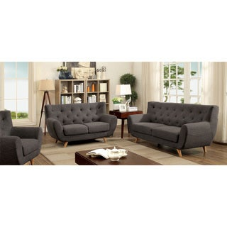 Furniture of America Rina Mid-Century Modern 3-piece Tufted Linen-like Sofa Set