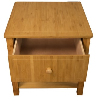 Belmont 100% Bamboo Wood with One Drawer and One Shelf Nightstand, End, Side, Accent, or Coffee Table