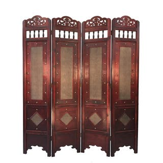 Vintage Wood 6 Foot Tall Wicker Pattern Room Divider Screen