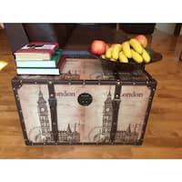 London Bell Wood Medium Decorative Steamer Trunk/Treasure Hope Chest