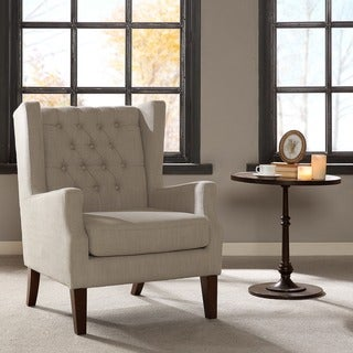 Madison Park Roan Linen Button Tufted Wing Chair