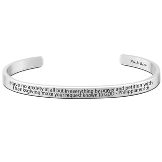 Pink Box 8mm Stainless Steel Philippians 4:6 Holy Scripture Cuff