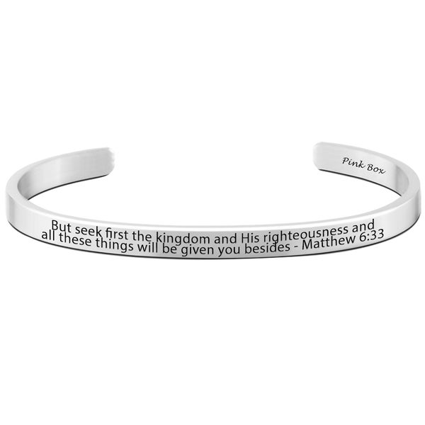 Pink Box Matthew 6:33 Stainless Steel 8-millimeter Holy Scripture Cuff. Opens flyout.