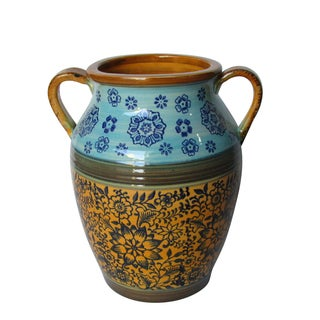 Jeco Blue and Yellow Ceramic Vase With Handle