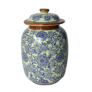 Jeco Blue and White Ceramic Pattern Lidded Jar