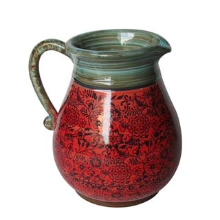 Blue and Red Ceramic 11.22-inch Patterned Pitcher