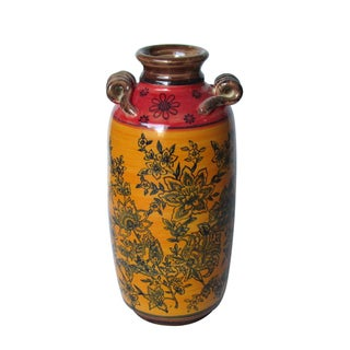 Jeco Red and Yellow Ceramic Pattern Vase